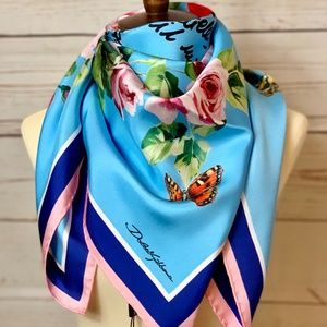 NWT DOLCE & GABBANA Roses & Butterflies Silk Scarf